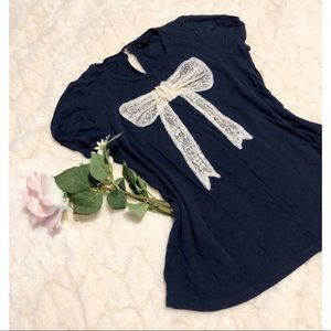 Forever 21 - Navy Blue Bow Top